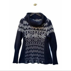 free people cowl neck fair isle printed knit sweater pullover
